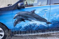 Аэрография Mercedes ML море дельфины