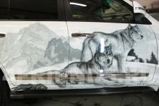 аэрография Toyota LC 200 Волки - фотография6